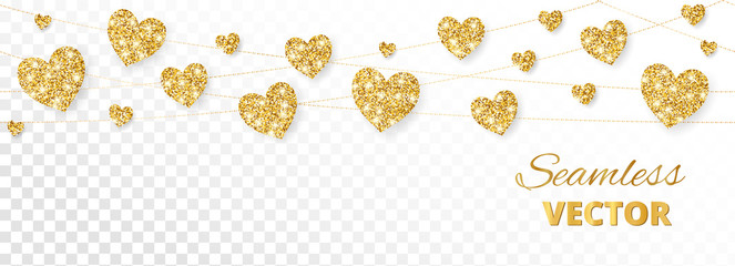 Golden hearts frame, seamless border. Vector glitter isolated on white background