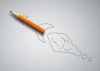 startup creative concept, pencil as drawn rocket