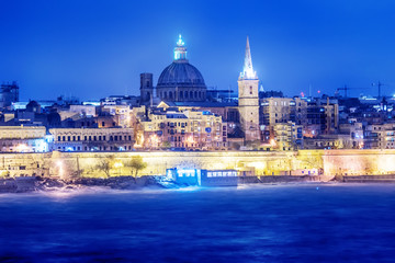 Valletta, Malta: beautiful skyline from Marsans Harbour at night