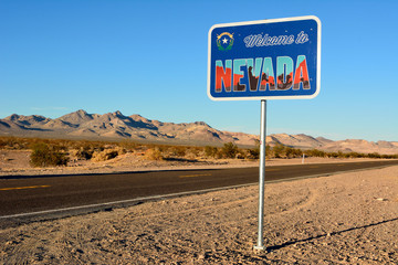 Welcome to Nevada road sign