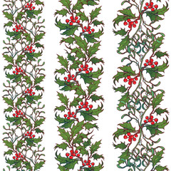 Set of Christmas ornamental seamless borders. Holly and mistletoe branches with leafs and berries. Winter botanical design. EPS10 vector illustration