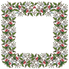 Christmas ornamental square frame. Holly branches with leafs and berries. Christmas greeting card template. EPS10 vector illustration