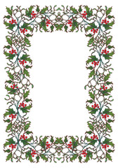 Christmas ornamental rectangular frame. Holly branches with leafs and berries. Christmas greeting card template. EPS10 vector illustration