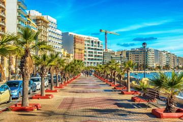 Malta: Sliema promenade and Creek in the morning