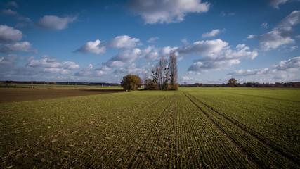 Vue aérienne d'un champ en Anjou