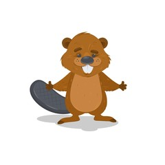 Cute cartoon vector beaver waving with his hands.