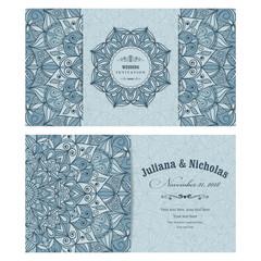 Wedding invitation cards Eastern style blue. Arabic  Pattern. Mandala ornament. Frame with flowers elements. Vector illustration.