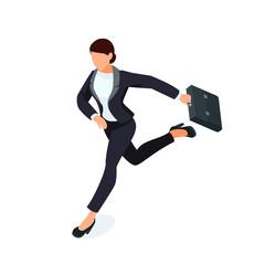 Isometric running businesswoman isolated on white background