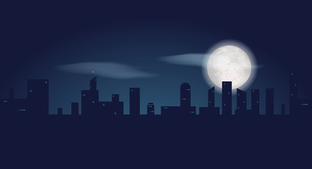 Silhouette of dark city buildings. Night landscape with skyscrapers and fool moon. Vector illustration
