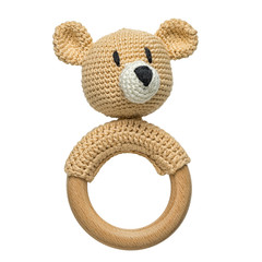 amigurumi crocheted bear toddler toy with circle wooden handle isolated on white background