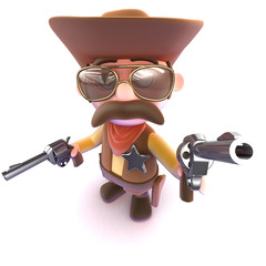 3d Funny cartoon cowboy aiming his gun at you