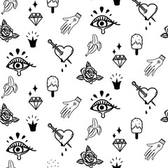 Doodle hipster flash tattoo style seamless vector pattern. Simple outline black and white line style background.