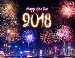 Happy new year 2018 firework over cityscape building near sea at night time celebration,Happy new year countdown.