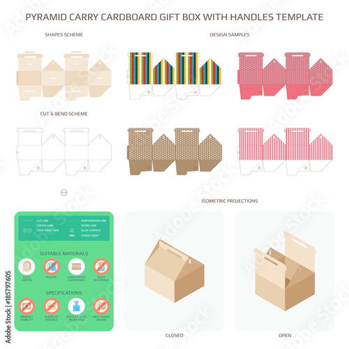 Vector Diagonal Handled Carry Cardboard Gift Box Templates Set Stock Image And Royalty Free Files On Fotolia