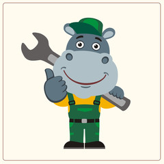 Funny hippo in wearing overalls with the large wrench on her shoulder. Mechanic hippopotamus in cartoon style shows like.