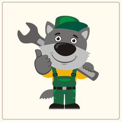 Funny wolf in wearing overalls with the large wrench on her shoulder. Mechanic wolf in cartoon style shows like.