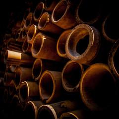 Plan serré en perspective sur bambous séchés