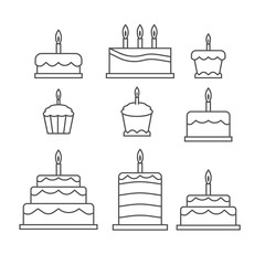 Outlined simple cake sweets icon isolated on white background