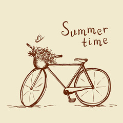 Bicycle sketch summer time illustration