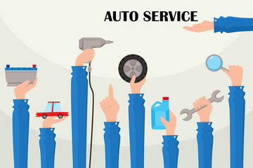vector flat car service poster with handyman hands holding repairing tools. Man hand in working uniform holding wrench, engine oil canister, automatic screwdriver, car wheel. Isolated illustration