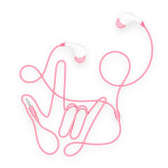 Earphones, In Ear type pink color and I Love You hand sign language made from cable isolated on white background, with copy space