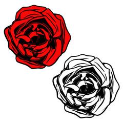 Rose illustration in tattoo style. Design element for logo, label, emblem, sign, banner, poster.