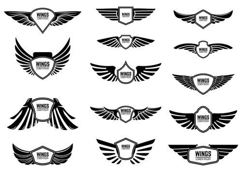 Set of blank emblems with wings. Design elements for emblem, sign, logo, label.