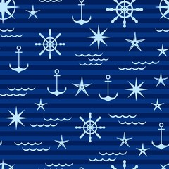 nautical pattern in shades of blue.