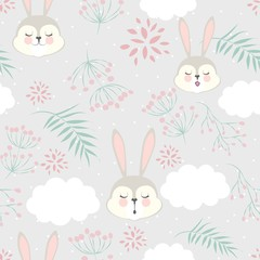 pattern cartoon for Valentine's day with a sleeping Bunny in the clouds.