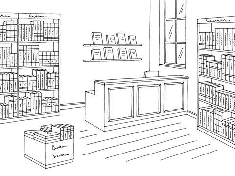 Book shop store interior graphic black white sketch illustration vector