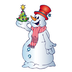 Cheerful snowman in scarf and hat, holds in hands christmas tree, cartoon on white background,