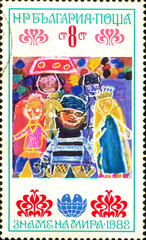 Ukraine - circa 2017: A postage stamp printed in Bulgaria shows children's drawing Fairy tales. Series: International Children's Assembly Banner of Peace. Circa 1982