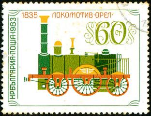 Ukraine - circa 2017: A postage stamp printed in Bulgaria shows drawing Lokomotive Eagle, 1835. Series: Locomotives. Circa 1983.