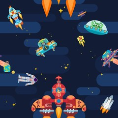 new exciting space star pattern astronauts spaceships and flying