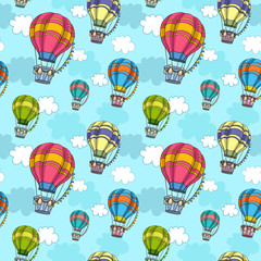 Vector seamless pattern with colorful air balloon in the sky. Texture for wallpaper, fills, web page background.