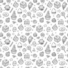 Vector doodle seamless pattern with bake and sweets. Texture for wallpaper, fills, web page background.