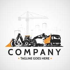Backhoe tractor and construction heavy truck, buildings cranes.