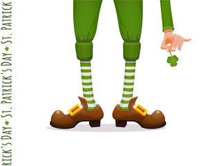 St.Patrick 's Day. Legs of a leprechaun and Patrick's hand with a shamrock clover. Humorous vector illustration