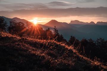 Sonnenaufgang mit Sonnenstrahlen in den Chiemgauer Alpen