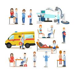 Medical staff vector flat icon set
