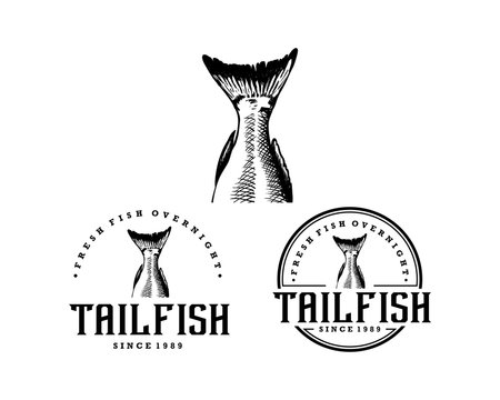 Black Circle Hand Drawing Tail Fish Illustration Company Logo Animal Set