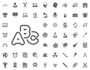 ABC alphbet icon. science and education vector icons set.