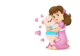 Girl hugging a bear. Clothes pink blue. Bear smiles. Toys illustration.