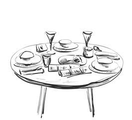 Table setting set. Weekend breakfast or dinner.