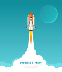 Business startup concept. Vector illustration in trendy flat style of rocket launch with white smoke clouds and moon on blue background.