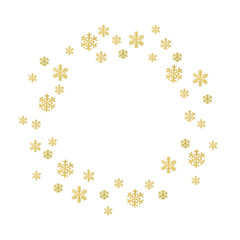 Watercolor circle frame of snowflakes in gold. Christmas and New Year template
