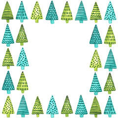 Square frame of watercolor Christmas trees. New Year and Christmas decoration template