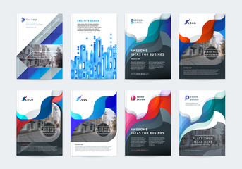 Business vector set. Brochure template layout, cover design annual report, flyer in A4 with colourful geometric shapes for PR, business, tech on bright background. Abstract creative design.