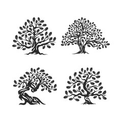 Huge and sacred oak tree silhouette logo isolated on white background. Modern vector national tradition green plant icon sign design set. Premium quality organic bonsai logotype flat illustration.
