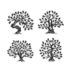 Huge and sacred oak tree silhouette logo isolated on white background. Modern vector national tradition green plant icon sign design set.